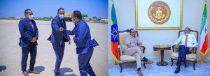 State Minister Ambassador Redwan Hussein confers with President of Somaliland Musa Bihi Abdi